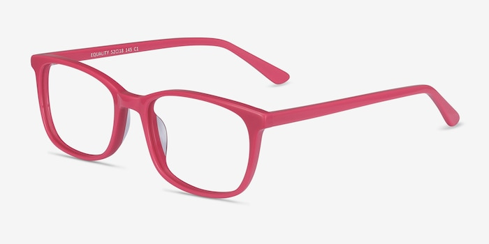 Equality Pink Acetate Eyeglass Frames from EyeBuyDirect, Angle View