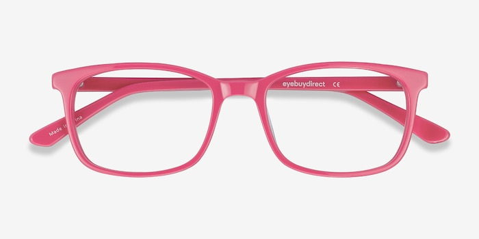 Equality Pink Acetate Eyeglass Frames from EyeBuyDirect, Closed View