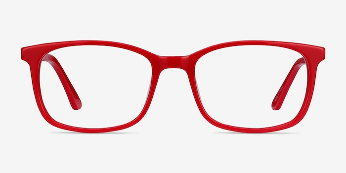 Equality Red Acetate Eyeglass Frames from EyeBuyDirect, Front View