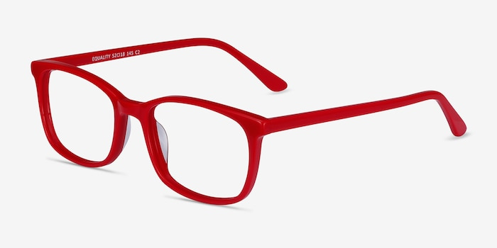 Equality Red Acetate Eyeglass Frames from EyeBuyDirect, Angle View