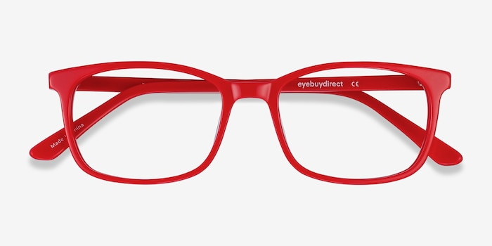 Equality Red Acetate Eyeglass Frames from EyeBuyDirect, Closed View