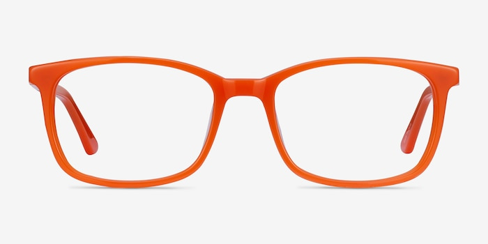 Equality Orange Acetate Eyeglass Frames from EyeBuyDirect, Front View