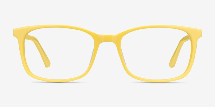 Equality Yellow Acetate Eyeglass Frames from EyeBuyDirect, Front View