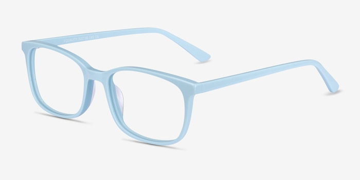 Equality Blue Acetate Eyeglass Frames from EyeBuyDirect, Angle View
