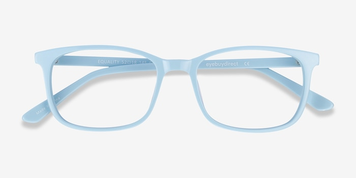 Equality Blue Acetate Eyeglass Frames from EyeBuyDirect, Closed View