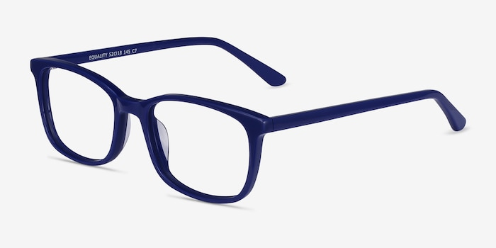 Equality Navy Acetate Eyeglass Frames from EyeBuyDirect, Angle View