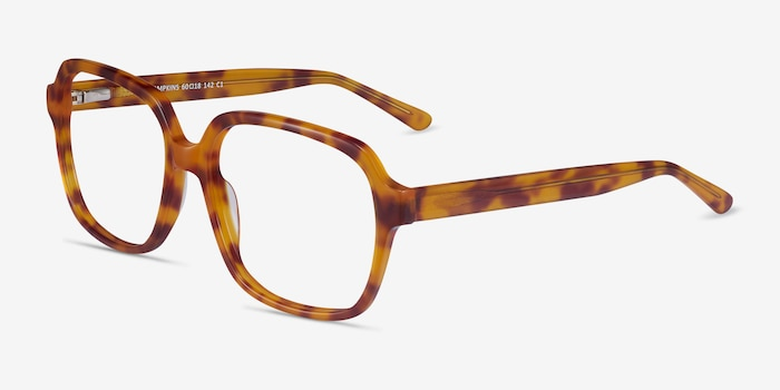 Tompkins Light Tortoise Acetate Eyeglass Frames from EyeBuyDirect, Angle View