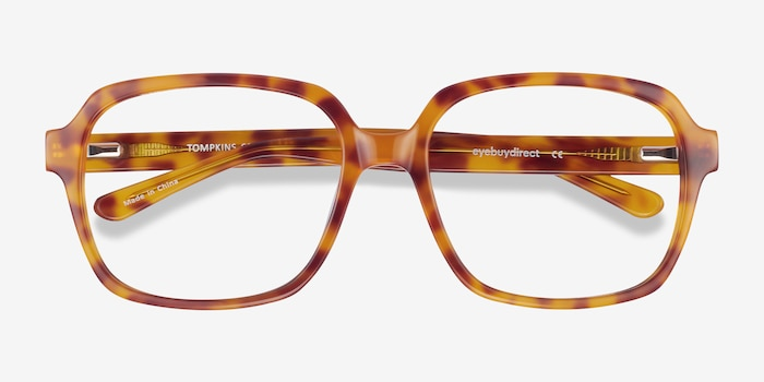 Tompkins Light Tortoise Acetate Eyeglass Frames from EyeBuyDirect, Closed View