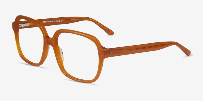 Tompkins Mellow Yellow Acetate Eyeglass Frames from EyeBuyDirect, Angle View