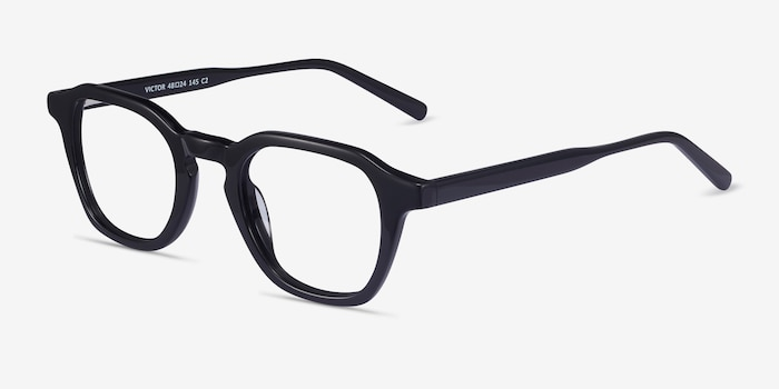 Victor Black Acetate Eyeglass Frames from EyeBuyDirect, Angle View