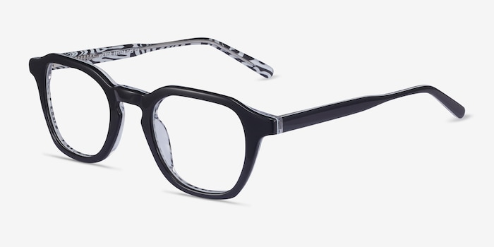 Victor Black & Zebra Acetate Eyeglass Frames from EyeBuyDirect, Angle View