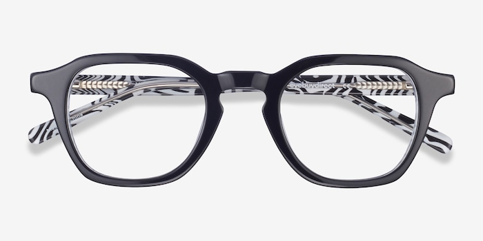 Victor Black & Zebra Acetate Eyeglass Frames from EyeBuyDirect, Closed View