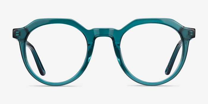 Mikoto Teal Acetate Eyeglass Frames from EyeBuyDirect, Front View