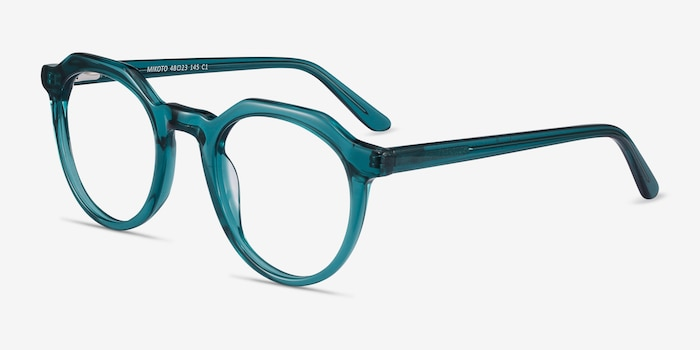 Mikoto Teal Acetate Eyeglass Frames from EyeBuyDirect, Angle View