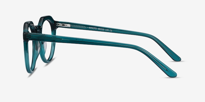 Mikoto Teal Acetate Eyeglass Frames from EyeBuyDirect, Side View