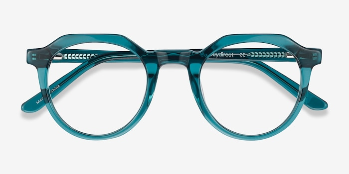 Mikoto Teal Acetate Eyeglass Frames from EyeBuyDirect, Closed View
