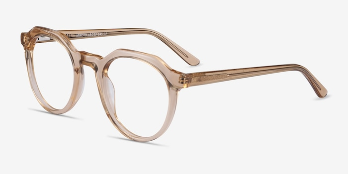 Mikoto Light Brown Acetate Eyeglass Frames from EyeBuyDirect, Angle View