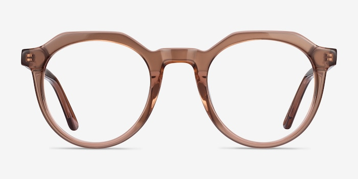 Mikoto Clear Brown Acetate Eyeglass Frames from EyeBuyDirect, Front View
