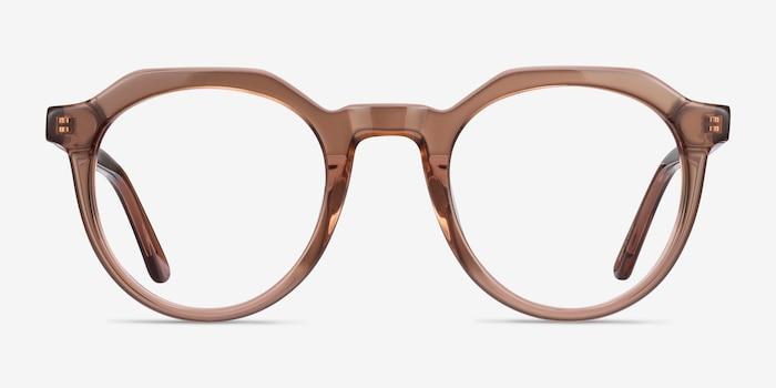 Mikoto Clear Brown Acétate Montures de Lunettes d'EyeBuyDirect, Vue de Face