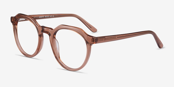 Mikoto Clear Brown Acetate Eyeglass Frames from EyeBuyDirect, Angle View