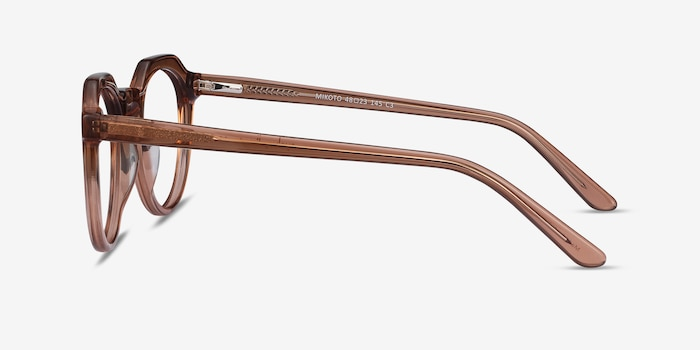 Mikoto Clear Brown Acetate Eyeglass Frames from EyeBuyDirect, Side View