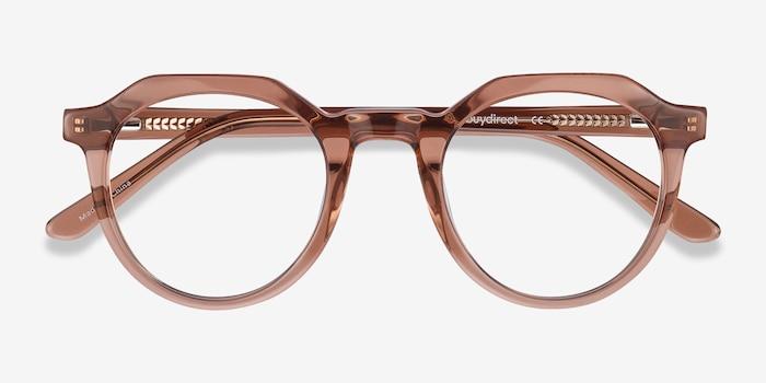 Mikoto Clear Brown Acétate Montures de Lunettes d'EyeBuyDirect, Vue Rapprochée