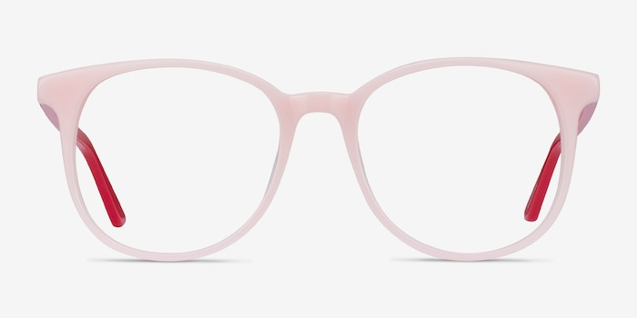 Solveig Pink & Red Acetate Eyeglass Frames from EyeBuyDirect, Front View