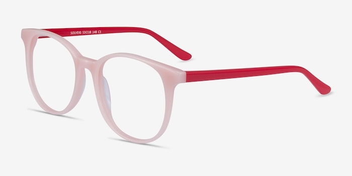Solveig Pink & Red Acetate Eyeglass Frames from EyeBuyDirect, Angle View