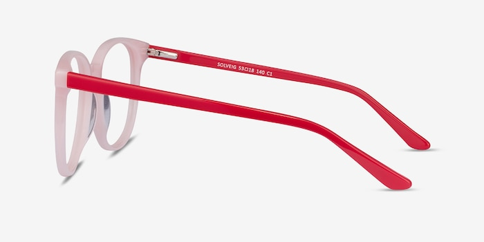 Solveig Pink & Red Acetate Eyeglass Frames from EyeBuyDirect, Side View