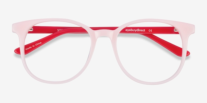 Solveig Pink & Red Acetate Eyeglass Frames from EyeBuyDirect, Closed View