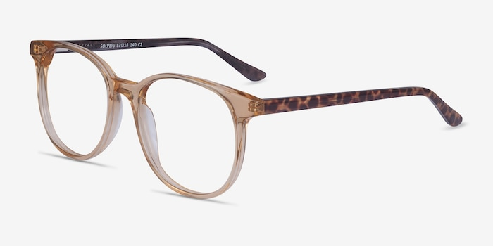 Solveig Clear Brown Acetate Eyeglass Frames from EyeBuyDirect, Angle View