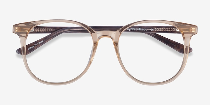 Solveig Clear Brown Acetate Eyeglass Frames from EyeBuyDirect, Closed View