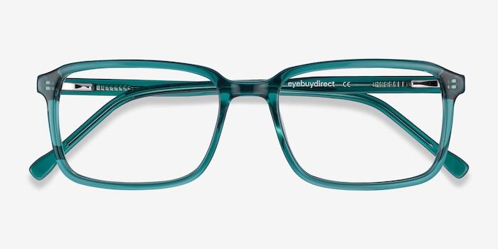 Rafferty Teal Acetate Eyeglass Frames from EyeBuyDirect, Closed View