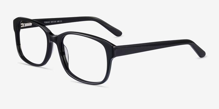 Tobias Black Acetate Eyeglass Frames from EyeBuyDirect, Angle View