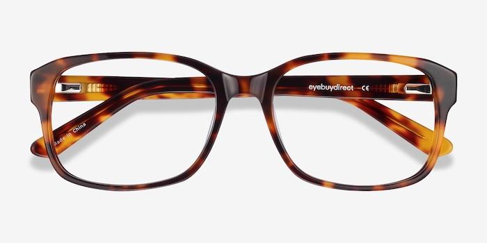 Tobias Tortoise Acetate Eyeglass Frames from EyeBuyDirect, Closed View