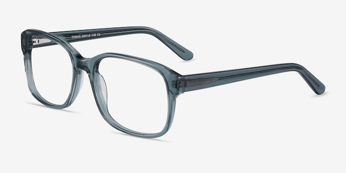 Tobias Clear Gray Acetate Eyeglass Frames from EyeBuyDirect, Angle View