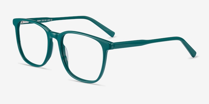 Finn Teal Acetate Eyeglass Frames from EyeBuyDirect, Angle View