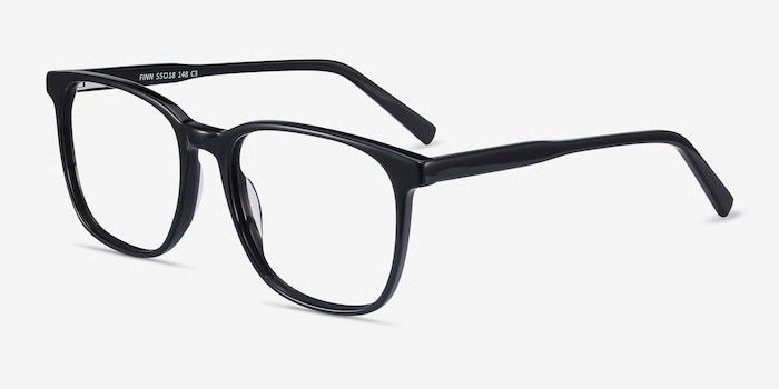 Finn Black Acetate Eyeglass Frames from EyeBuyDirect, Angle View