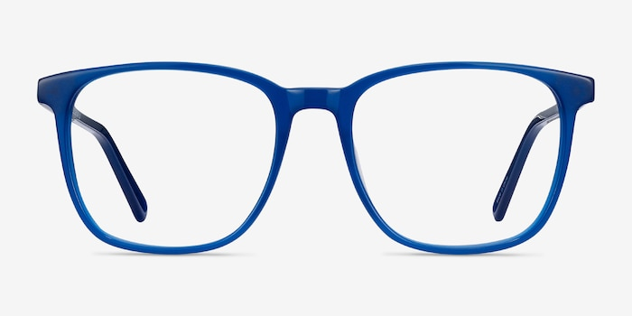 Finn Blue Acetate Eyeglass Frames from EyeBuyDirect, Front View