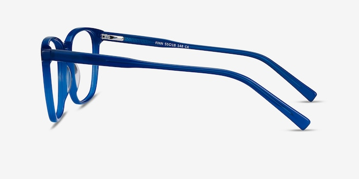 Finn Blue Acetate Eyeglass Frames from EyeBuyDirect, Side View