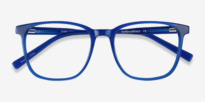 Finn Blue Acetate Eyeglass Frames from EyeBuyDirect, Closed View