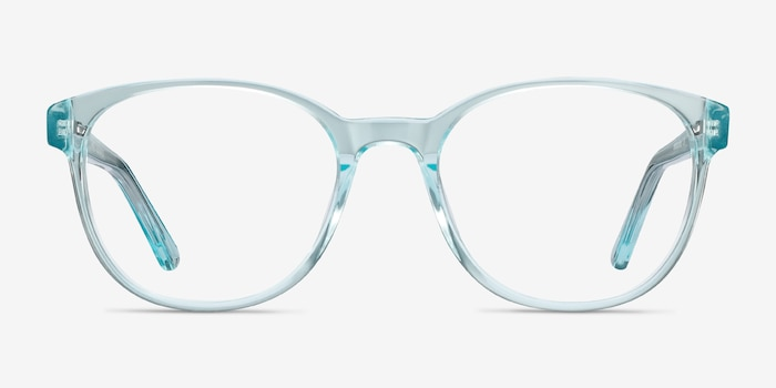 Gable Clear Blue Acetate Eyeglass Frames from EyeBuyDirect, Front View