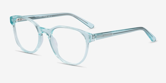 Gable Clear Blue Acetate Eyeglass Frames from EyeBuyDirect, Angle View