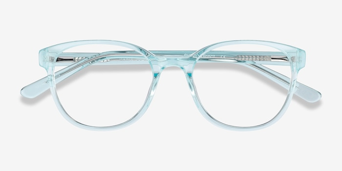 Gable Clear Blue Acetate Eyeglass Frames from EyeBuyDirect, Closed View