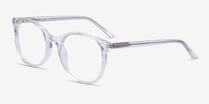 Greta Clear Acetate Eyeglass Frames from EyeBuyDirect, Angle View