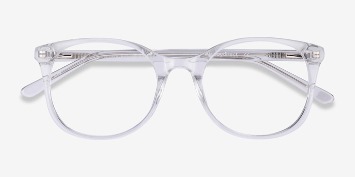 Greta Clear Acetate Eyeglass Frames from EyeBuyDirect, Closed View