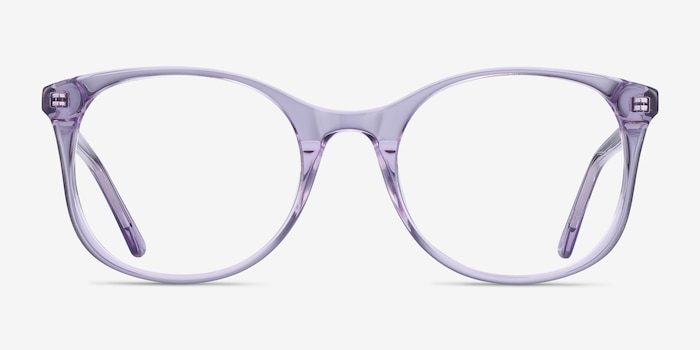 Greta Clear Purple Acetate Eyeglass Frames from EyeBuyDirect, Front View