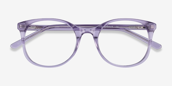 Greta Clear Purple Acetate Eyeglass Frames from EyeBuyDirect, Closed View