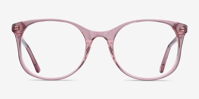 Greta Clear Pink Acétate Montures de Lunette de vue d'EyeBuyDirect, Vue de Face