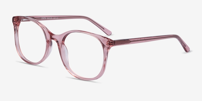 Greta Clear Pink Acetate Eyeglass Frames from EyeBuyDirect, Angle View